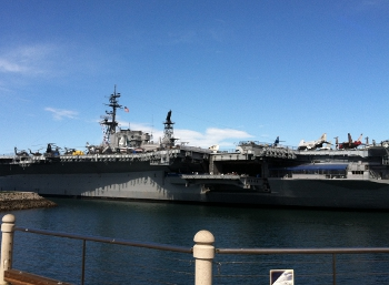 san diego aircraft carrier in large body of water